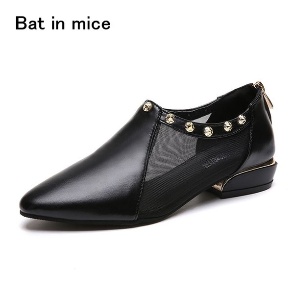 Designer Dress Shoes New brand spring Autumn Mesh PU leather women sexy cozy high heels zipper Mujer Zapatos Plus size 35-42 A058