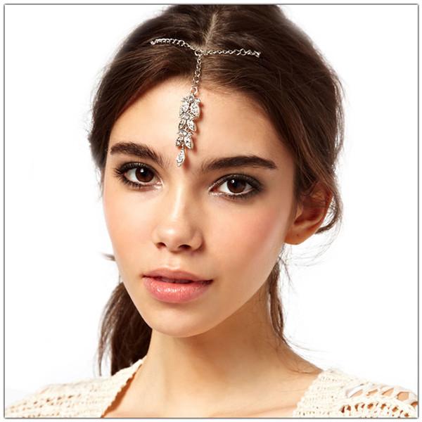 Bohemian Rhinestone Hair Clips Clear Crystal Leaf Wedding Bridal Hair Accessories Indian Head Piece Dancer Forehead Jewelry