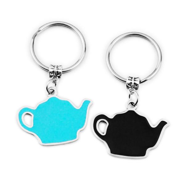 26 * 34MM Edelstahl Teekanne Schlüsselbund schwarz blau Teekanne Schlüsselring Anti Wear Schlüsselanhänger Neuankömmling