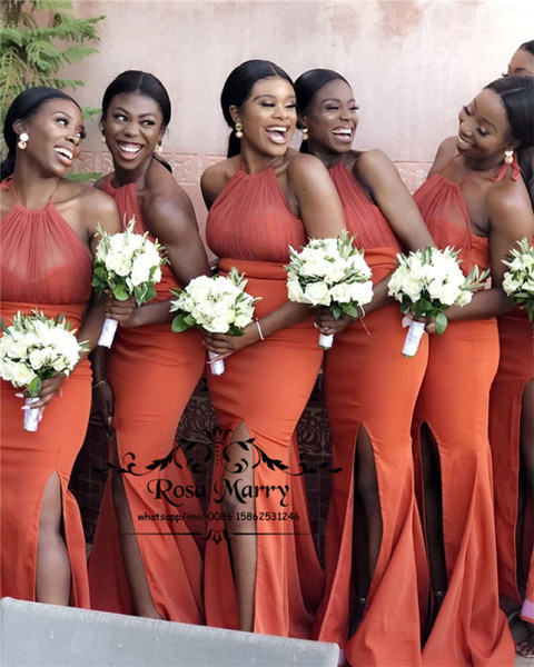 Sexy Orange Plus Size Mermaid Bridesmaids Dresses 2019 Halter High Split African Arabic Cheap Long Satin Wedding Guest Maid Of Honors Gowns