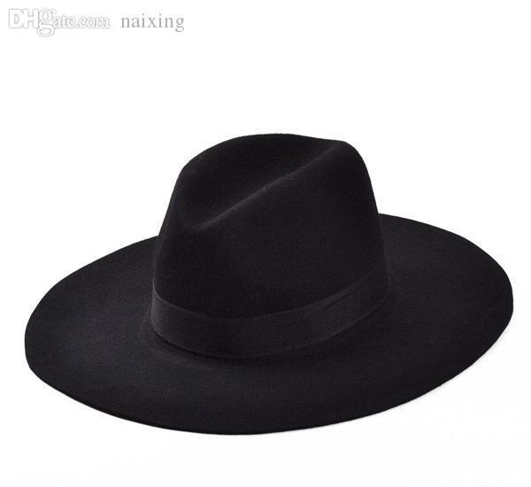Оптово-Мода Vintage Lady Girls Wide Брим Шерсть Войлок Fedora Hat черный Floppy Клош, ковбойские шляпы для мужчин и женщин Бесплатная доставка
