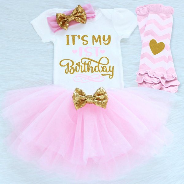It's My 1st First Birthday Outfits Summer Baby Clothes Toddler Girl Baptism Suits Funny Baby Clothing Sets For Bebes Kids Wear Y18120303