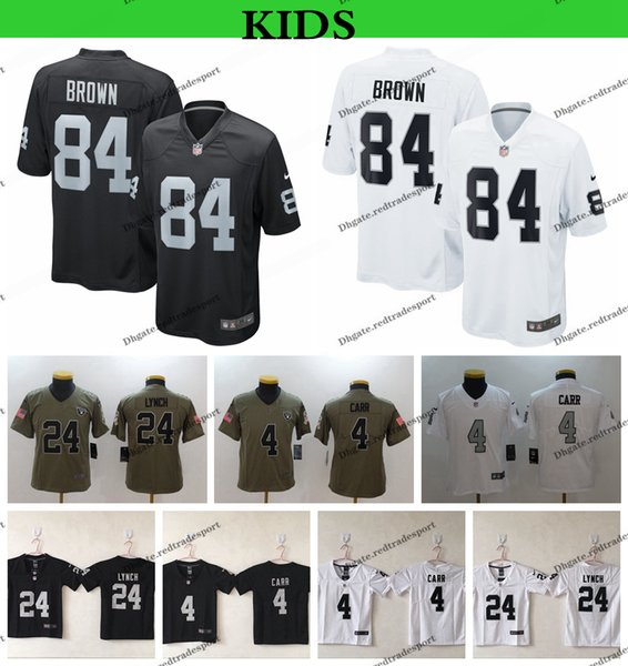info for f08a5 36087 2019 Youth Oakland Kids Raiders Salute To Service Football Jerseys 84  Antonio Brown 24 Marshawn Lynch 4 Derek Carr Rush Legend Stitched Shirts  From ...