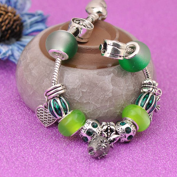 New Style Silver Love Bracelets Charm Fit Pandora Women Green Frosted Murano Glass Crystal Beads Lampwork Openwork Bangle Cross Pendant Best
