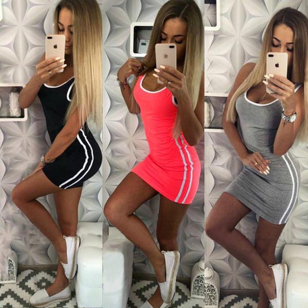 Barato Sexy Vestidos de tanque Ropa de mujer Piping de rayas Vestidos cortos ajustados Casual Con cuello redondo Venta caliente 2019 Summer Free DHL