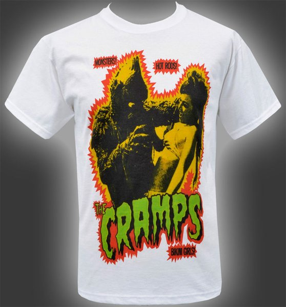 MENS WHITE T-SHIRT THE CRAMPS HORROR MONSTER FROM THE LAGOON SEXY BIKINI GIRLS Funny 100% Cotton T Shirt Jersey Print T-shirt