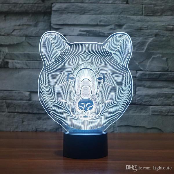 Sevimli Ayı 3D Gece Lambası Yatak Hayvan Lambası Led Akrilik Gece Işığı Ev Dekorasyonu, 3D Illusion Lambası Dokunmatik 7 Renk Değişim, Çocuk Doğum Günü Noel Hediye