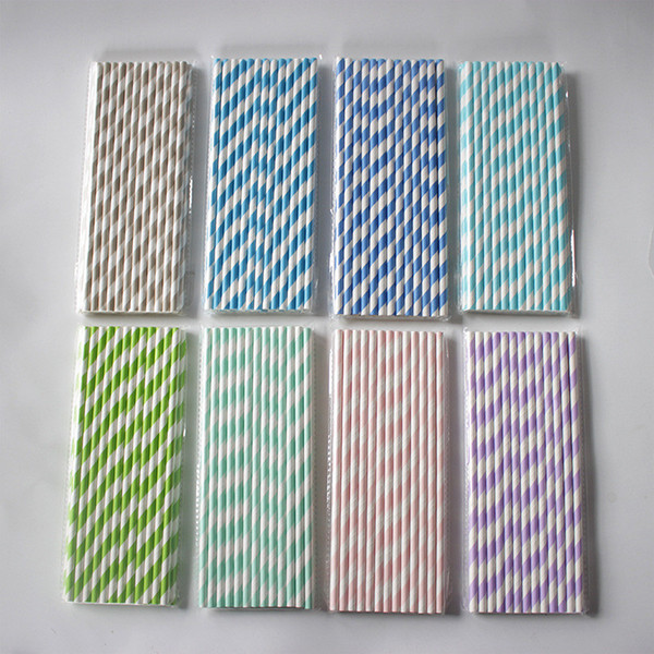 Pro 25pcs Colors Striped Paper Drinking Straws-Rainbow Mixed For Party Decor