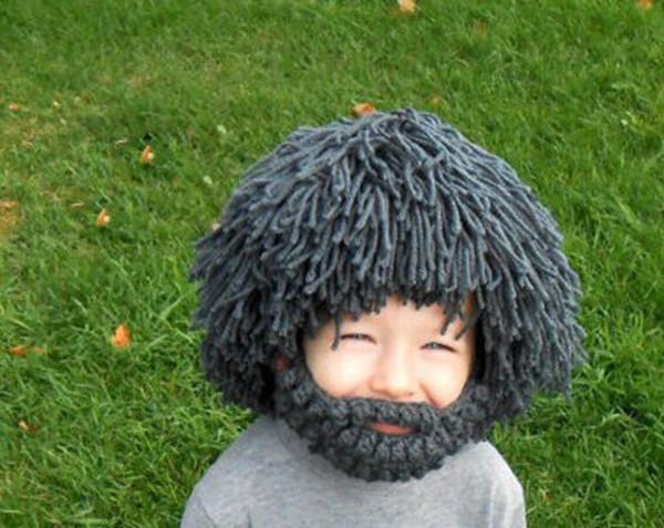 Peluca Barba Sombrero de lana creativo Tejido a mano Sombrero de lana Wildman Unisex Niños Cálido Otoño e Invierno Sombrero Nueva novedad Gorro