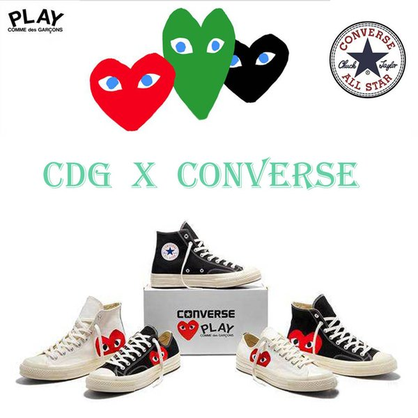 2019 Rei&Nbsp;Kawakubo CommeDES GARCONS PLAY X ConverseChuck&Nbsp;Taylor ALL STAR 1970S Sneakers Polka White LOW Canvas Shoes 120157 From Qwe6668,