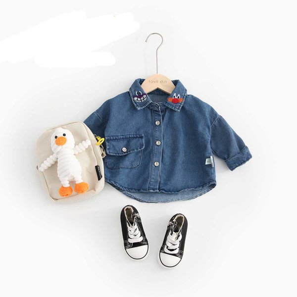 KIDS JEAN COATS BOYS AND GIRLS JACKETS TODDLERS CLOTHES LONG SLEEVE SHIRTS COOL FASHION CASUAL STYLE CARTOON KIDS CLOTHES