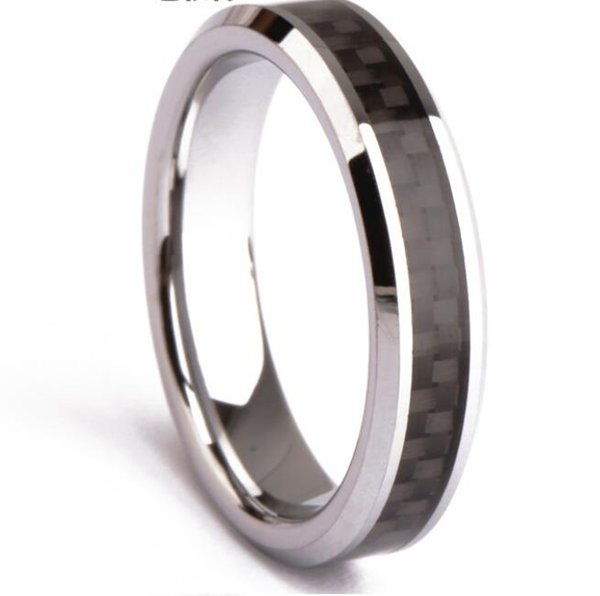 6mm Black Carbon Fiber Tungsten Carbide Ring for men and women wedding band