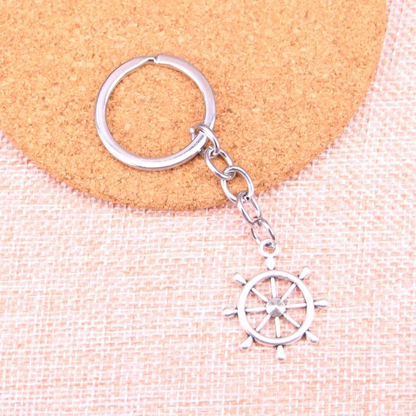 New Fashion ship's wheel helm rudder KeyChain Handmade Metal Keychain Party Gift Jewellery 28*24mm