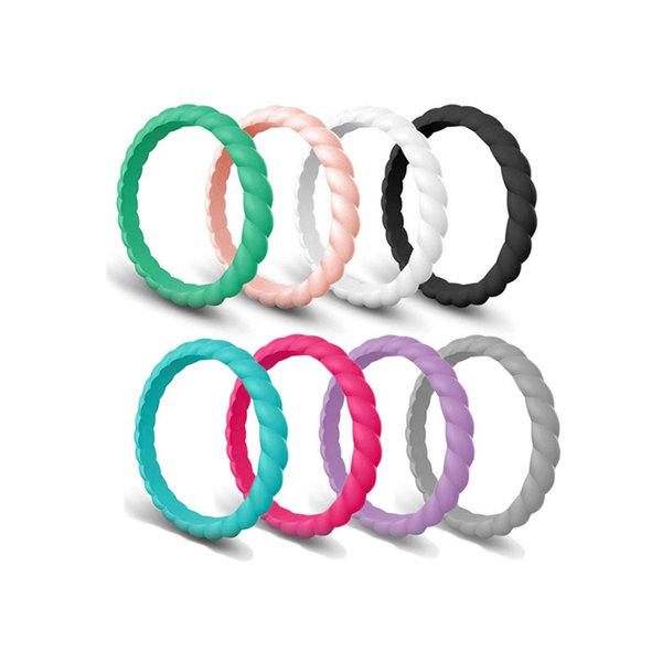200pcs Braided Silicone Ring Wedding Bands for Women Fashion Silicone Rubber Flexible Rings Thin and Stackable Girls Lady Jewelry