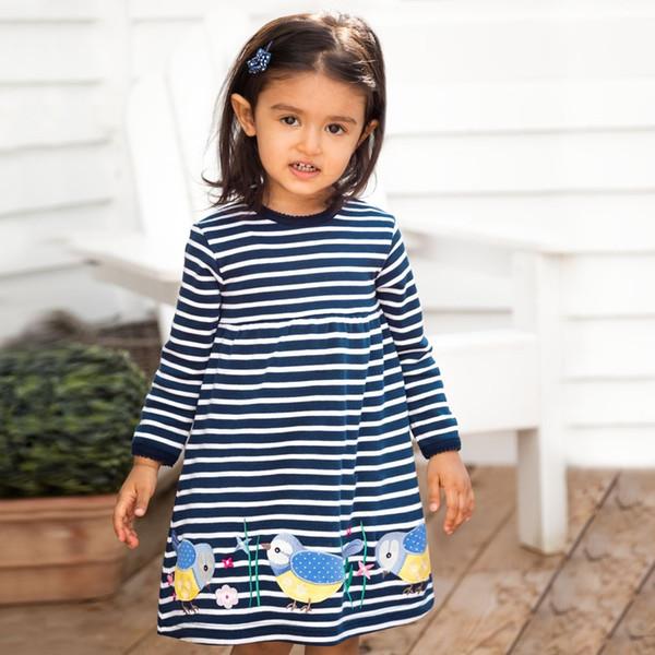 INS Pocket Striped Floral Animal Kids Girls Dress Children Girls Knee-length A-line Cotton Baby Girls Dress Designer Wholesale