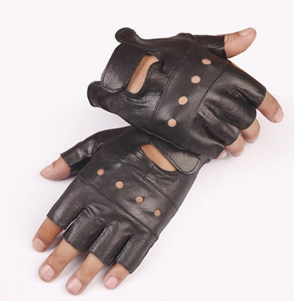Goatskin half finger gloves leather half finger leather half finger fitness All black sheepskin four hole gloves hole section