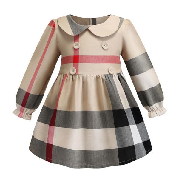 Solapa manga larga ropa de diseñador para niños vestidos para niñas INS estilos de primavera Chica europea y americana de algodón de alta calidad vestido a cuadros grandes 4568