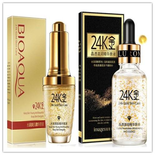 Droppshing BIOAQUA 24K Gold Foil Crema Viso Idratante Toner Skin Care 24 K Oro Giorno Creme Idratante Essence Serum 30ml per le donne libere