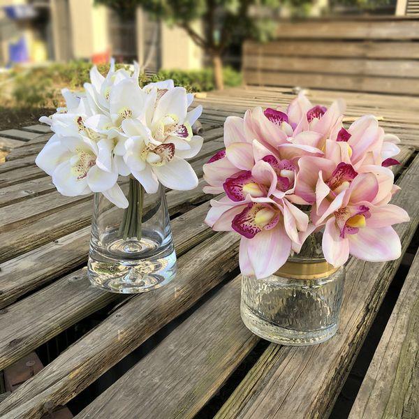 Toque real cymbidium 6 cabeças curto atirar decoração de mesa flor diy mão de noiva de casamento flores home decor artificial orquídea