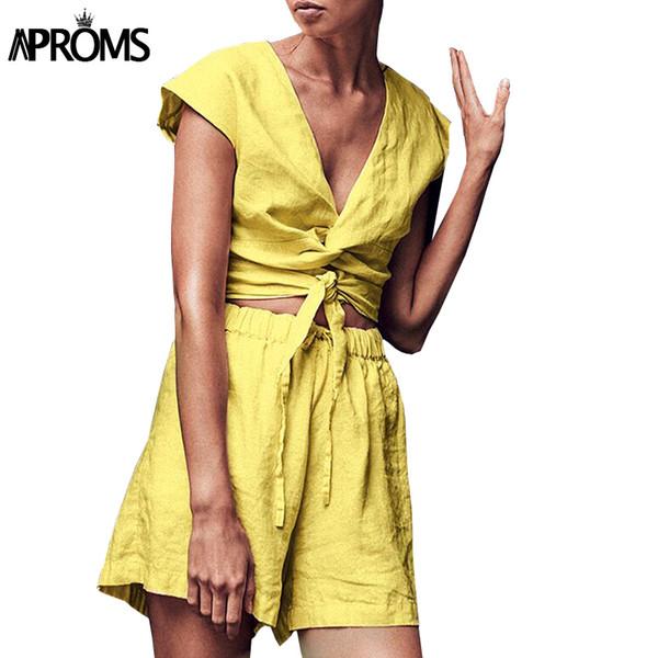 Aproms Boho Two Piece Set Summer Linen Crop Top and Shorts Women Sexy Criss Cross Bow Tie Jumpsuit Boho High Waist Shorts 2019