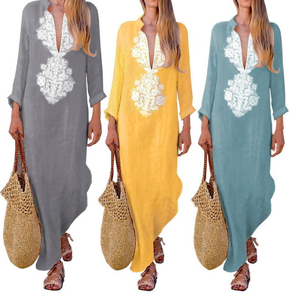 best selling LASPERAL Summer Boho Long Maxi Dress Long Sleeve V-neck Women Dress Clothes Loose Ladies Party Summer Casual Beach Sundress Y190117