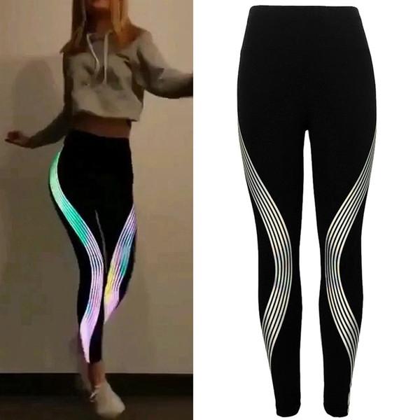 Womail sport leggings Women Neon Rainbow Leggings Fitness Sports Gym Running Yoga Athletic Pants Energy Seamless All Season #35 #73688