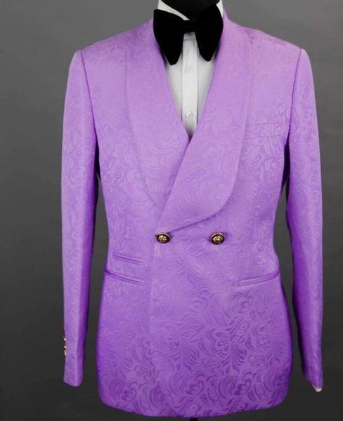 Light Purple Groom Tuxedos Back Slit New Style Custom Made Two Buttons Slim Fit Groomsmen Men Wedding/Dinner Suits(Jacket+Pants+Tie)