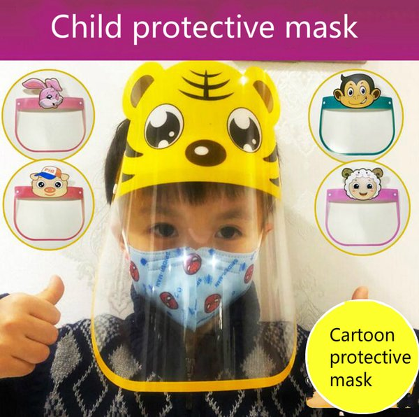 best selling Cartoon Pictures Anti-fog Safety Child Face Shield Transparent Anti-spitting Splash Clear ECO PET Reusable Protective Face Shield Mask