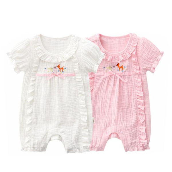 Infant Baby Girl Bodysuit Clothes Outfit Short Sleevel Soft Solid Color Pink white Sunsuit Jumpsuit For 0-24M One-pieces Cotton Organic Cott