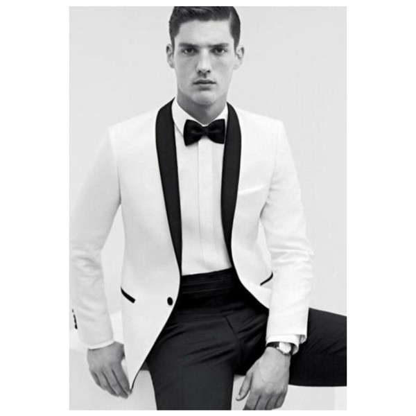 2019 White Groom Tuxedos Shawl Collar Groomsmen One Button Best Man Men Wedding Suits for Formal Party (Jacket+Pants+Bow)