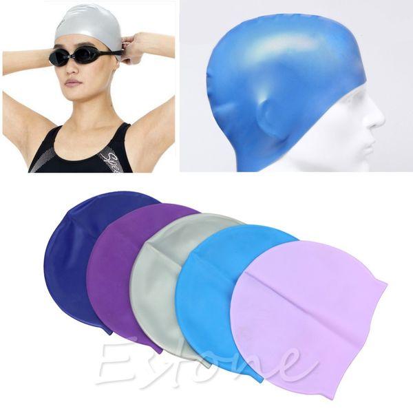 Adult Sports Silicone Swim Cap Flexible Durable Elasticity Swimming Hat #
