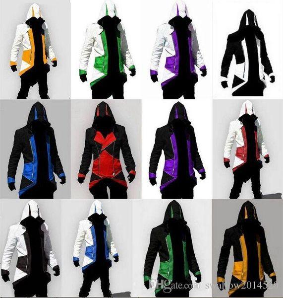 Venda quente sob encomenda da forma Assassins Creed 3 III Connor Kenway Hoodies / Trajes Casacos / Brasão 12 cores escolher direto de fábrica