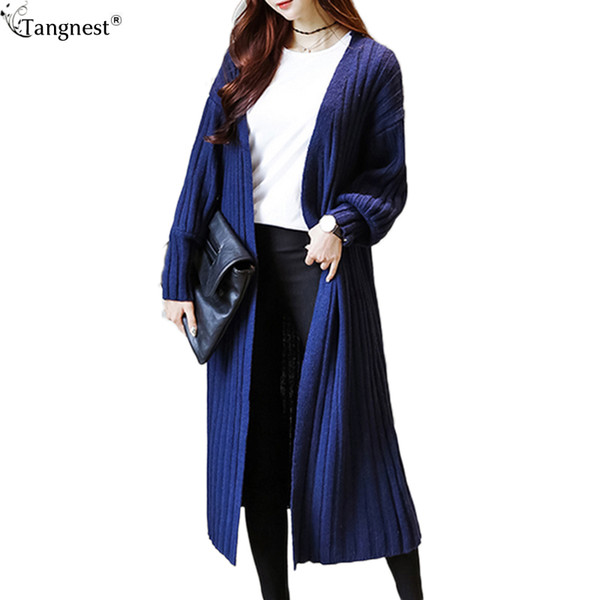 TANGNEST Long Cardigan 2016 Autumn Women's Striped Knitted Loose Trench No Buttons Maxi Sweater Korean Style Cardigans WWK540