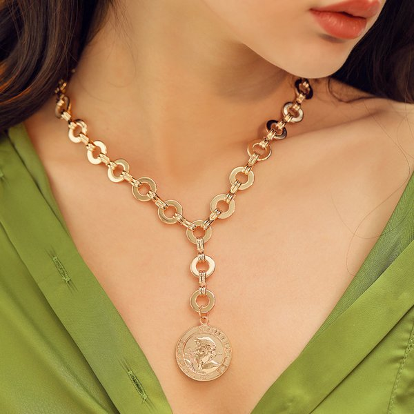 GEREIT New Women Jewelry Gold Color Long Chains Big Round Coin Pendant Necklace For Women Punk Vintage Portrait Kolye Jewelry