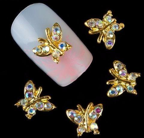 10pcs Glitter Butterfly Rhinestones 3d Nail Art Decorations Alloy Sticker Charms Jewelry For Nail Gel/polish Tools Tn254