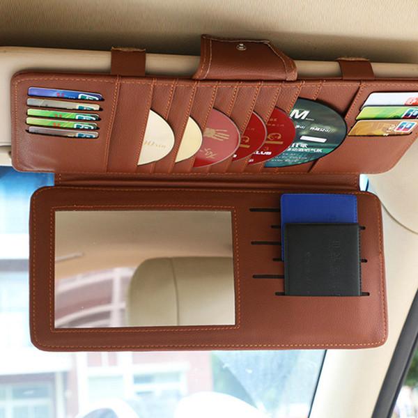 27 Pockets Sun Visor Sunshade Organizer Sleeve Holder Clips Car CD DVD Holder 10 Disc Storage Case Auto Accessories Double Layer