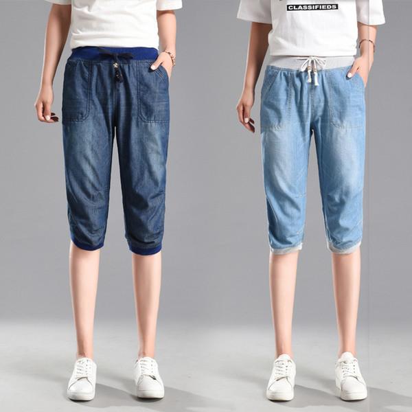 2019 été section mince Tencel Jeans Femme grande taille taille élastique pieds lâches sept pantalons