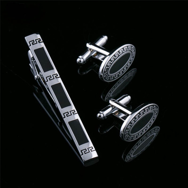 Tie Clip Cufflinks Set Top Quality Tie Pin Cuff links Set Wholesale french Tie Bar Link Set for men groom wedding jewelry