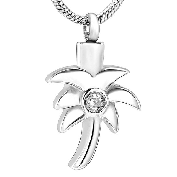 Tree of Life Pendant Necklace Crystal Coconut Tree Stainless Steel Small Box Souvenir Grey Box Necklace Jewelry IJD12129
