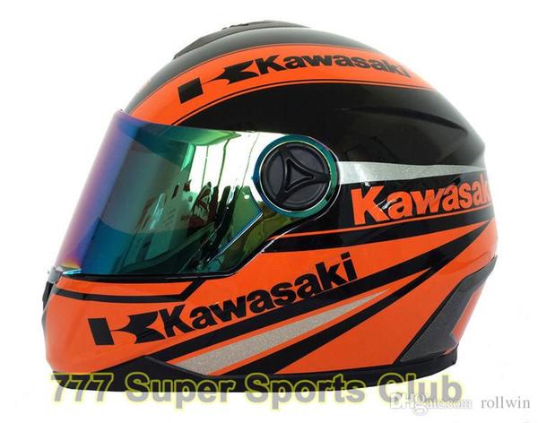 Kawasaki Marka Motosiklet Tam Yüz Kask Erkekler / kadınlar Motosiklet Yarış Kaskları Capacete Kasko NOKTA Onaylı