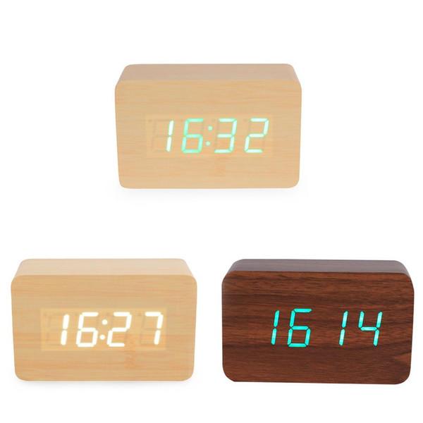 Nuevo 3 colores LED madera reloj despertador Madera LED luz Reloj despertador con temperatura y tiempo Control de voz Escritorio Digital Cube