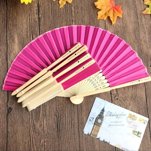 Personalized Engraved Silk Hand Fan Wedding Fold Fan Vintage Fans Customized Wedding door gifts with organza bag +printing 100pcs
