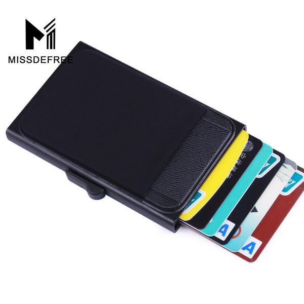 Carteira De Alumínio Com Bolso Traseiro Id Titular do Cartão de Rfid Bloqueio Mini Slim Metal Carteira Automática Pop Up Cartão de Crédito Bolsa Da Moeda Q190430