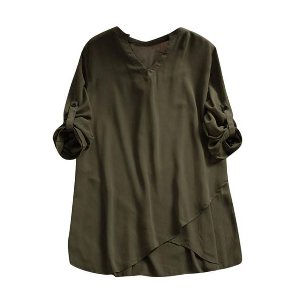 2019 fashion trend new high-quality hot women models Women Ladies Chiffon Button Long Sleeve V Neck Irregular t shirt