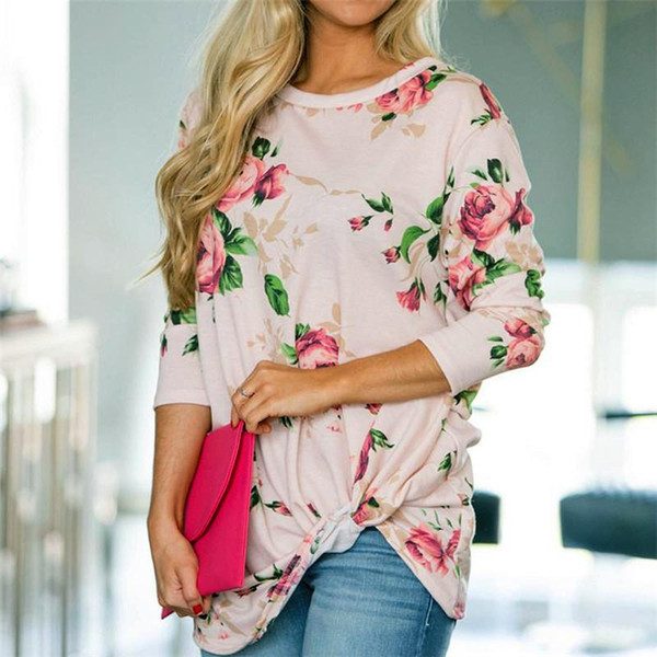 Winter Fashion T-shirts For Women Crop Top With Flower Print Woman Clothes T-Shirt O-Neck Casual Knotting Tail Plus Size Women Clothing