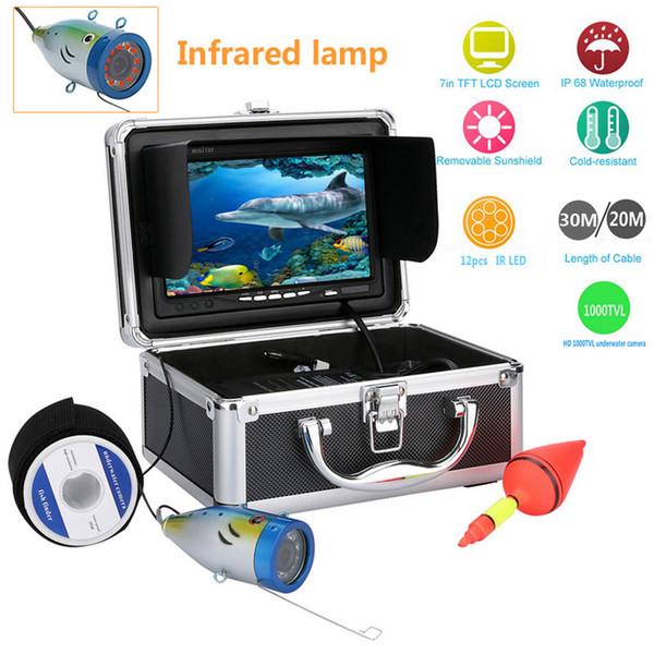Original 20M / 30M 1000tvl Kit de cámara de video para pesca submarina 12 PCS LED luces 7 pulgadas Monitor bajo el agua Buscador de pesca