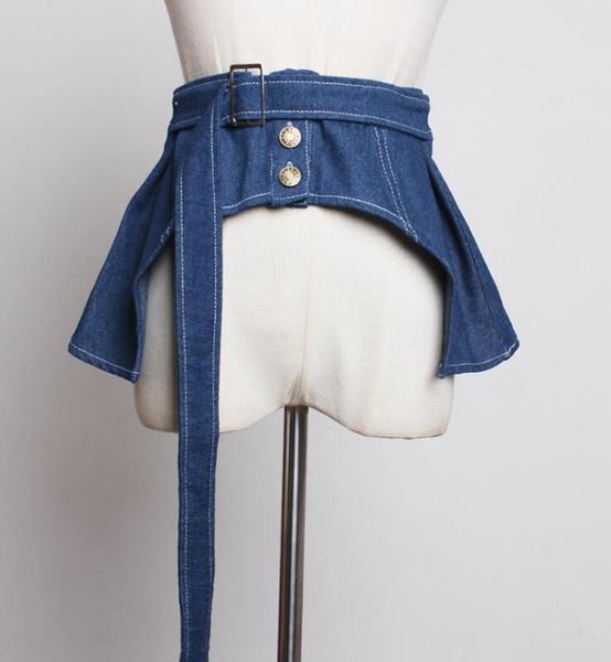 della pista di modo Cummerbunds denim brevi delle donne femminile cappotto Abito Cinture corsetti del cinturino decorazione cintura larga R1785