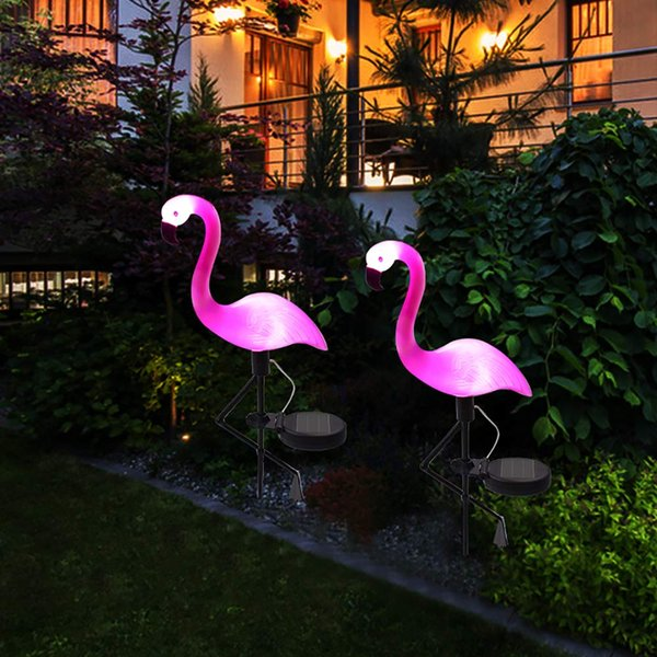 Solar Powered Flamingo Ground Spike Light Solar Powered Garden Lights Parco impermeabile decorativo prato lampada Pathway Outdoor Yard Walkway