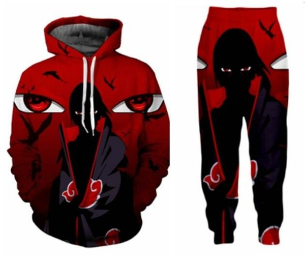 Novos Homens / Mulheres Anime Naruto Engraçado 3D Impressão Moda Treinos Crewneck Hip Hop Moletom e Calças 2 Pcs Conjunto Hoodies