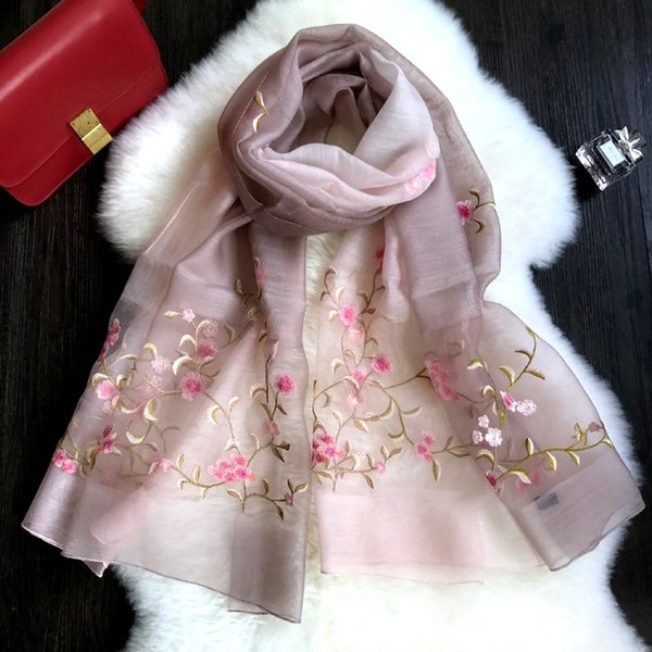 écharpe en coton de soie de mode féminine décoloration col châle fille pop vent broderie peut les fleurs livraison gratuite en Chine